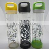 2016 new plastic Tritan Fruit Infuser Water Bottle ,plastic milk bottles with lids and straw