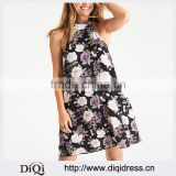 Wholesale Ladies Floral Printed Backless Strappy Sleeveless Ladies Sexy Halter Mini Dress