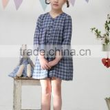 New style children clothes cotton long sleeve plaid wholesale classical fancy baby casual dress