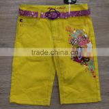 girls color denim shorts with cut belt#29BEH0013