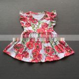 Baby girls cotton frocks design flutter sleeve kids summer dresses one piece rose print pearl dress wholesale