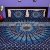 Indian Mandala Blue Turkish Duvet Cover Ethnic Quilt Covers Hand Screen Printed Doona Cover Blanket With Pillow Cover