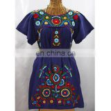 Mexican/ Tunic/Dress Summer Women Loose Dress Fabric Beach Tunic Multi Embroidery Tops For Girls