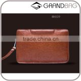 vintage style brown original cow leather men business clutch bag handbag with detachable wristlet
