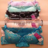 1.05USD High Quality Large Size Transparent Embroidered Girls Ladies Sexy Panty And Bra Sets ,4Colors/ 36-40 C Cup(kctz014)