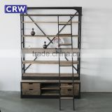 Antique Metal Shelf Industrial Furniture Reclaimed Wooden Bookself                                                                         Quality Choice