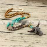 NE2355 Fashion handmade long natural stone beaded necklace with bull pendant charm                                                                         Quality Choice