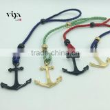 316 L Stainless Steel Colorful Cotton Rope String Leather Anchor Bracelet Fashion Jewelry Black Blue Green Red Purple Nylon Rope