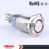 CE ROHS HBS2GQF-E/N 16mm Nickel-plated Brass metal indicator light