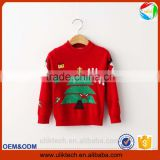 green tree printing red color winter clothing for chilren kid wear christmas sweater for girls sweater