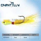 China wholesale jig fishing lure bucktail jig head with VMC hook