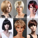 Ladies Short Wig Blonde Black Brown Wig Bob Curly Boycut Wedge Style Wigs W366