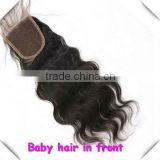 "Middle/Free Parting18"" #1B Natural Body Wavy, Bleached Knot, Peruvian virgin hair full front lace closures"