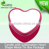 Heart shaped Sublimation DIY Metal Tin candle holder