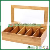 tea box bamboo tea bag display compartment storage organizer chest with clear