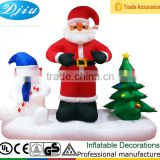 DJ-XT-51 inflatable santa claus and polar bear stay in snowfield protect christmas tree garden decoration