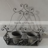 Vintage wrought iron cottage chic wall flower pot stand