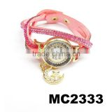 ladies rhinestone korean suede leather bracelet wrist bracelet watch with moon star charm