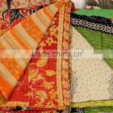 indian beautiful vintage saree patchwork kantha quilt cotton bedspread bedding