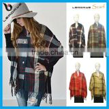 plaid classic fringe button hot selling 2015 ladies cape poncho                                                                         Quality Choice