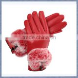 Women Red Sheepskin Leather Glove With Rabbit Fur/ Lady Sheepskin Leather Glove With Wool