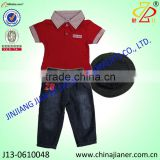 new product for 2014 summer baby boy clothes set t-shirt with jeans