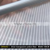 GWA646-1 Width 100CM Silver transparent carbon fiber water transfer Printing film Hydro printing factory