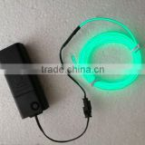 high brightnes 2.3mm electroluminescent neon wire 5meter green+3V EL inverter AA battery pack