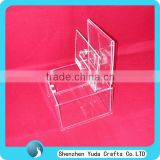 Promotional Clear Donation Box With A5 Sign Holder Acrylic Ballot Box With Lock Acrylic Lockable Comment Box