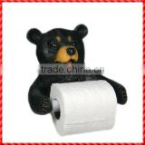 Decorative cute custom black bear resin Toilet Paper Holder