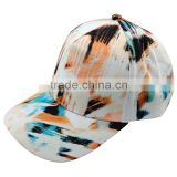 6 Panels Fashion Structured Plain Baseball Caps/hats with digital Flora Printing Image