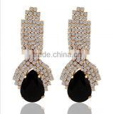 Luxury jewelry for women 14k gold plating black crystal dangle earrings dubai gold jewelry earring