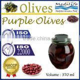 High Quality 100% Tunisian Table Olives,Purple Olives Broken, Purple Olives 370 ml Glass Jar