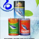 High Quality China Processed Instant Canned Mackerel Fish Salt and Water Added Fresh Raw Material