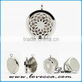 Popular hollow stainless steel aromatherapy locket pendant necklace for essential oil
