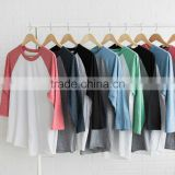 men pullover wholesale sublimation products Crewneck 3/4 Long Tri Blend Raglans men t shirts
