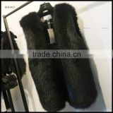 Factory wholesale faux fur reversible black vest woman