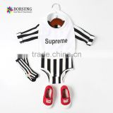2017 hot sale fashion organic cotton newborn baby boy clothes black stripe baby romper match bibs