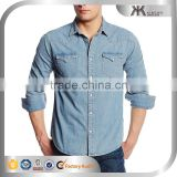 2015 wholesale Alibaba men's casual denim shirt, denim men's shirt, custom denim shirt