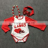 2016 tutu arrival ladies love me Valentine's day baby romper girls dress clothes long sleeve sets with matching bow and boots