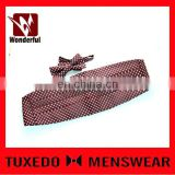 poly purple small checked cummerbund and bowtie set