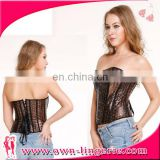 brown leather corset waist slimming corset for womman