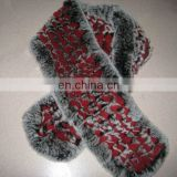 dyed rex rabbit two colors top quality knitted rabbit fur scarf