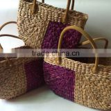 High quality best selling Water hyancinth shopping bag with leather handles- Natural & Purple from Vietnam