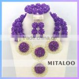 Mitaloo Latest Nigerian Wedding Beads Jewerly Set Wedding Set Jewelry High Quality African Jewelry Beads Set MT0003
