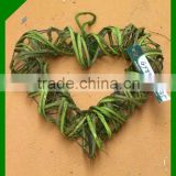 natural green wicker heart shaped Christmas wreath
