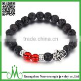 Fashion jewelry black bead bracelet European style men lava bracelet with palm