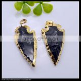 LFD-0072P ~ Wholesale Black Obsidian Druzy Pendant Bead Arrowhead Gold Plated the Edged Fashion Charm Gem Stone Pendant