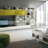 Wall Unit Modern Design White & Green Glass