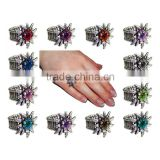 Silver Edelweiss with Colorful Rhinestones Trachtenring Elastic Ring